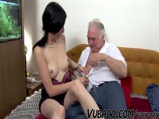 MATURE MAN FUCKS TEEN ON COUCH