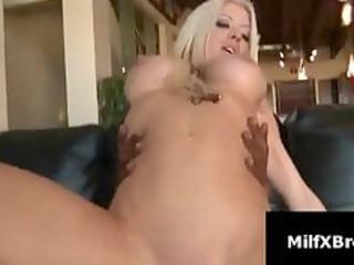horny blond mother i rides dark pounder on