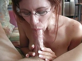 aged redhead momma with glasses doing