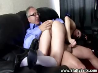 She gets banged from behind by his mature cock in