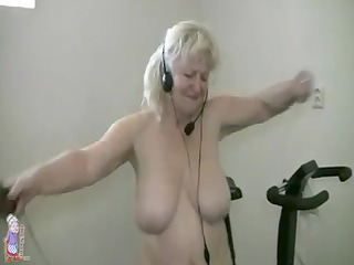 plump granny working out