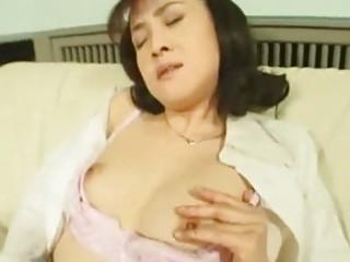 lascivious oriental wife masturbating in stockings