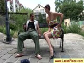 aged temptress teasing a begger