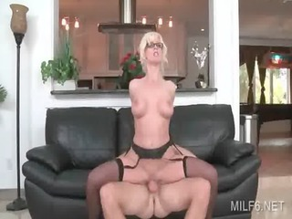 wild sex on a leather couch with concupiscent