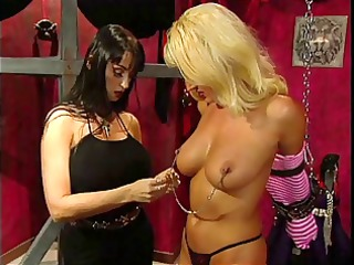 Big tits blonde slave pleasured by her big tits