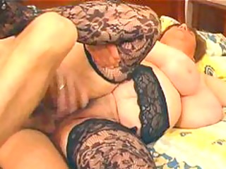 large breasty in lace stockings copulates bbw
