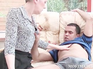 blonde older receives her tits teased