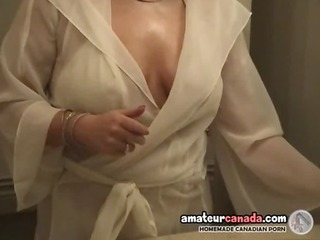 chunky wife in white underware uses big toys and