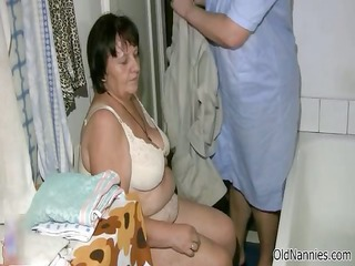 wicked old lady receives her curly love tunnel