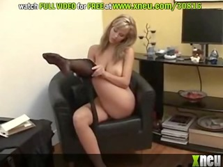 busty &_ hawt d like to fuck puts on her hose