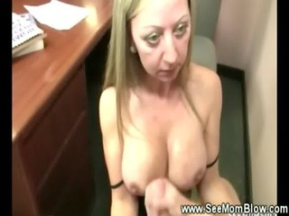 aged lady lets a boy jerk off on her sillicone