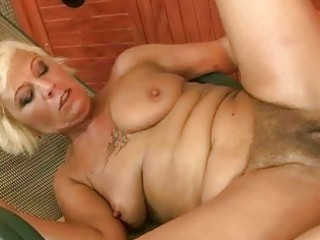 Hot hairy granny fucking with her young boyfriend