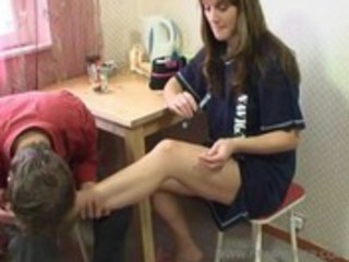 Mom seduces son with her feet