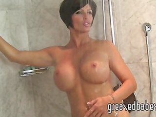 breasty milf shay fox bathes in the shower