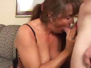 Excited mature milf sucks and fucks a young stud