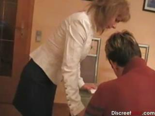 Hot german mom teaches boy