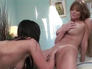 heavy chested lesbo momma licking hottie pot to