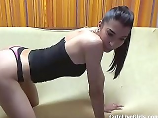 Hot and sexy Teen brunette home alone with