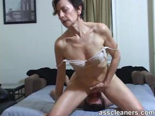 Horny milf facesits a slave for ass licking and