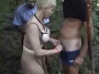 slutty wife has joy wuth voyeurs in forest.