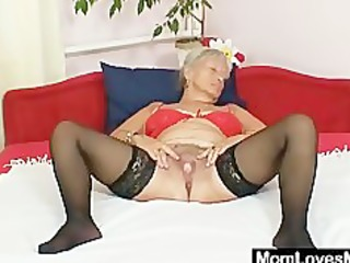 unsightly grandma cecilie toys her curly wet crack