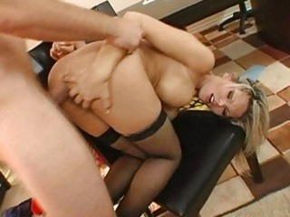 sweet busty golden-haired milf gets her asshole