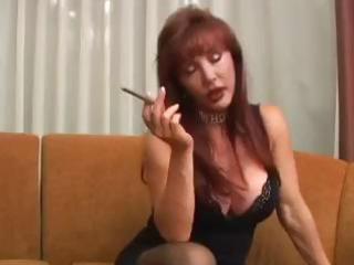 busty mature vanessa has a smoke before she