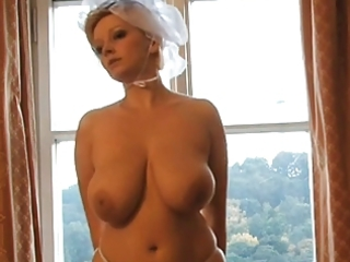 sexy golden-haired milf bride photoshoot