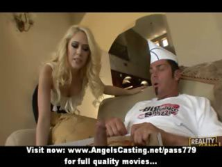 golden-haired milf strips and does blowjob for