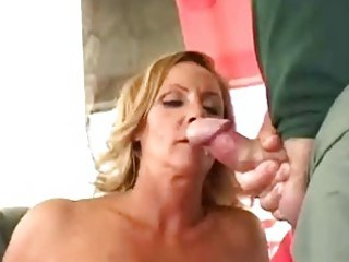 concupiscent mature wife receive double facial