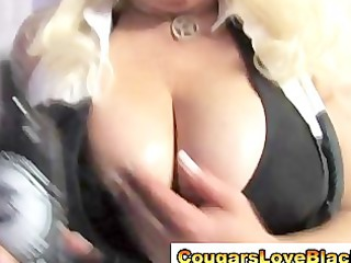 Nasty big tits interracial cougar