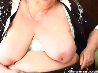 fat granny with big boobs bonks a fake penis