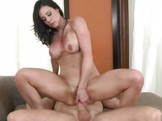 outstanding breasty dark brown milf riding a