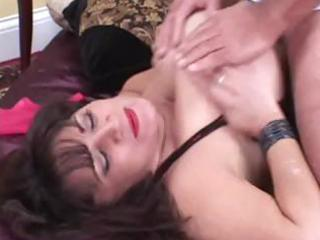 chunky aged dark brown lady with huge knockers