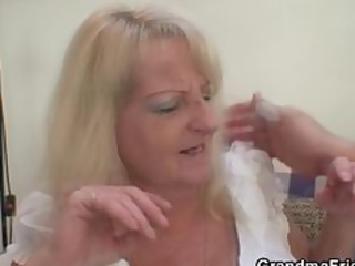 drunk blond granny in sexy trio fuckfest