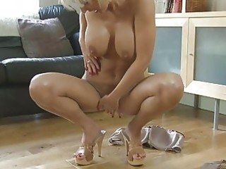 fleshly blonde momma with large breasts in heels