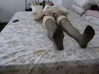 non-professional granny masturbates her curly