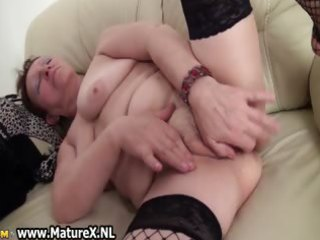 old breasty and horny mommy is stroking part7