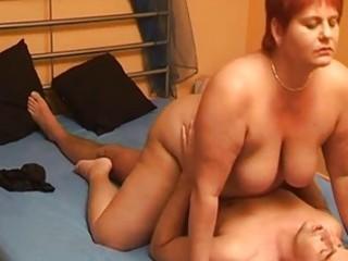 obese non-professional wife sucks and copulates