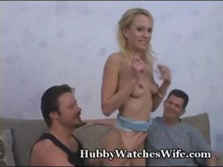 hubby watches whilst his petite blonde wife gets