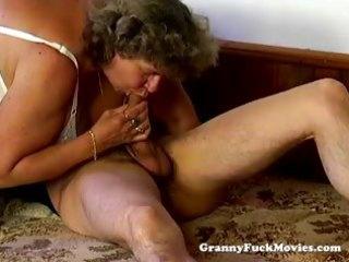 large plump granny blowing pecker