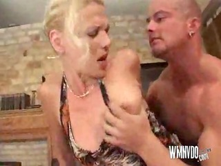 blond mother i fisting on table, spunk flow cum