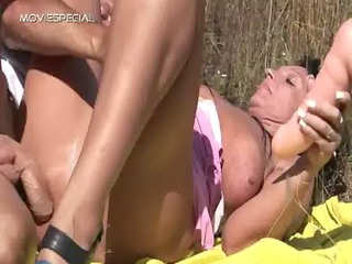 Horny MILF gets fucked hard outdoor
