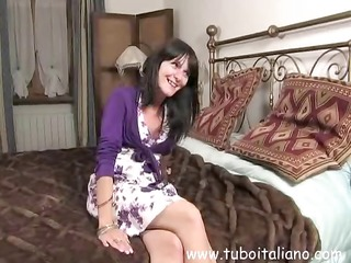 cutie italian housewife receives naked, touches
