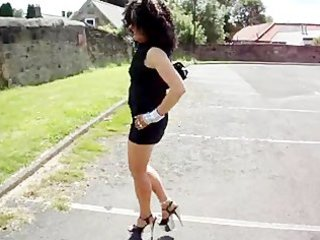 sexy d like to fuck walking with silver platform