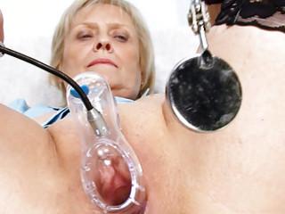 blond granny nurse self exam with pussy spreader