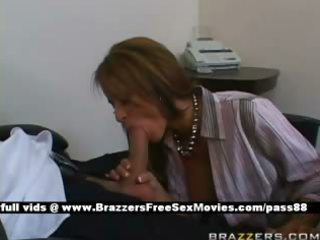 mature redhead wench at work receives a oral-job