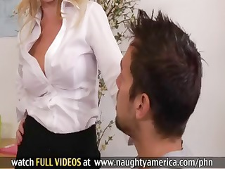 blond teacher is a cougar and gets team-fucked by