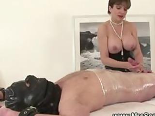 topless mistresse jerks off her bound villein