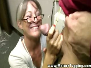 busty granny tugging on rod for lucky boy